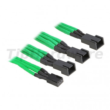BitFenix 3-Pin na 3x 3-Pin Adapter 60cm - sleeved green/black