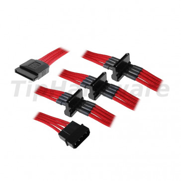 BitFenix Molex na 4x SATA Adapter 20 cm - sleeved red/black