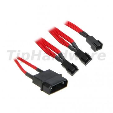 BitFenix Molex na 3x 3-Pin 7V Adapter 20cm - sleeved red/black